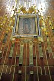 Mexico City. Image of Our Lady of Guadalupe in the New Basilica in the interior of the church at the Basilica of Our Lady of Guadalupe on March 17, 2014 in Royalty Free Stock Photo