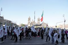 MEXICO CITY - JANUARY 30 2019 - Political popular demonstration in town main square stock photo