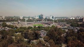 Aerial view during the Pumas-America match. Mexico City, Mexico, January 19th 2018, Architecture of UNAM, Estadio Olimpico, Aerial view during the Pumas-America stock footage