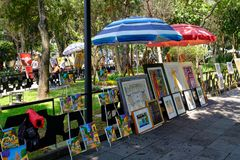 The famous Saturday Bazaar at the San Angel neighborhood in Mexico City. MEXICO CITY,MEXICO - JULY 14,2018 : The famous Saturday Bazaar at the San Angel stock photography