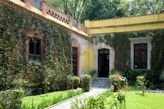 The house of the exiled soviet leader Leon Trotsky in Coyoacan, stock photos