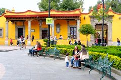 The historic neighborhood of Coyoacan in Mexico City royalty free stock images