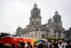 Portable bathrooms with LGBT subject in Mexico City stock photography