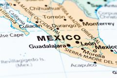 Mexico City on a map. Close up of a world map with Mexico in focus royalty free stock photos