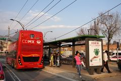 MEXICO CITY, MEXICO - MARCH 18 2018 - The new double decker metr. MEXICO CITY, MEXICO - MARCH 18 2018 - The double-deckers, often referred to London buses, the Royalty Free Stock Image