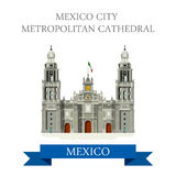 Mexico City Metropolitan Cathedral vector flat attraction. Mexico City Metropolitan Cathedral. Flat cartoon style historic sight showplace attraction web site Royalty Free Stock Image