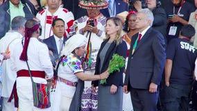Mexican President participates in a ancient ritual. Mexico City, Mex. 01/12/2018. Andres Manuel Lopez Obrador participates in an indigenous ritual during his stock footage