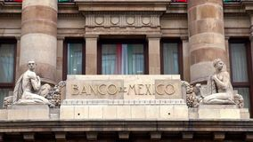 View of the logo of the Central Bank of Mexico. It`s objective is to ensure the stability and power of the currency stock video footage