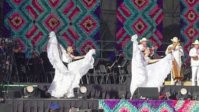 Two dancers perform folkloric dance from Veracruz, wearing a beautiful regional typical dress, as part of the cultural activities. Mexico City, Mex. 01/12/2018 stock video footage