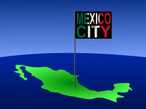 Mexico City on Mexican map. Map of Mexico with position of Mexico City marked by flag pole illustration Stock Image