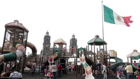 Mexico City, Mexico-August 2014: FULL SHOT. Children having fun in climbers and slides. stock footage