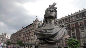 Mexico City, Mexico-August 2014: FULL SHOT-PAN LEFT. Moctezuma's Statue. stock video