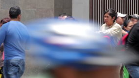 Mexico City, Mexico-August 2014: Organ grinder, playing the organ in the street. stock footage