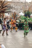 Aztec dances, Mexico City. Mexico City, Mexico - December 22, 2017: Aztec dancers dancing in the Zocalo in Mexico City, DF, Mexico Royalty Free Stock Photography