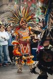 Aztec dances, Mexico City. Mexico City, Mexico - December 22, 2017: Aztec dancers dancing in the Zocalo in Mexico City, DF, Mexico Stock Images
