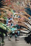 Aztec dances, Mexico City. Mexico City, Mexico - December 22, 2017: Aztec dancers dancing in the Zocalo in Mexico City, DF, Mexico Stock Photo