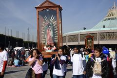 Mexico City, Mexico-December 12, 2017:Pilgrims Celebrate The Festivities at the Basilica of Guadalupe Royalty Free Stock Photo