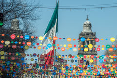 MEXICO CITY, MEXICO - FEBRUARY, 9 2015 - mexico city cathedral celebration of 180 years stock photography