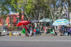 MEXICO CITY, MEXICO - FEBRUARY, 9  2015 - People buying in street shops Royalty Free Stock Photo