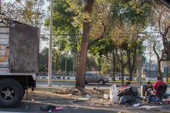 MEXICO CITY, MEXICO - FEBRUARY, 9  2015 - Poor man homeless on the street Stock Image
