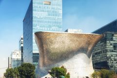 The modern Soumaya museum of art in Mexico City. Mexico City, Mexico - February 15, 2018: Soumaya Museum`s has a modern building, and holds the largest Rodin Stock Photo