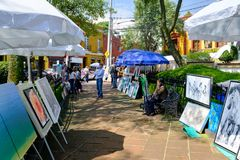 The famous Saturday Bazaar at the San Angel neighborhood in Mexico City. MEXICO CITY,MEXICO - JULY 14,2018 : The famous Saturday Bazaar at the San Angel royalty free stock photo