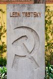 The grave of Leon Trotsky at the house where he lived in Coyoacan, Mexico City stock photos