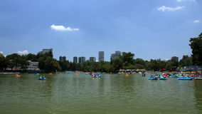 Mexico City, Mexico-July 2014: People enjoying a trip in a recreational boat in the Chapultepecs lake. stock video
