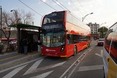MEXICO CITY, MEXICO - MARCH 18 2018 - The new double decker metr. MEXICO CITY, MEXICO - MARCH 18 2018 - The double-deckers, often referred to London buses, the Royalty Free Stock Photo