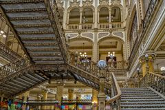 MEXICO CITY, MEXICO - NOVEMBER 5 2017- Historic Post office building. MEXICO CITY, MEXICO - NOVEMBER 5 2017- The Postal Palace was built at the beginning of the stock photography