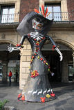 Mexico City, Mexico - November 24, 2015: Mexico City Festival of the Dead - Large skeletal figure in Zocalo Square Royalty Free Stock Photos