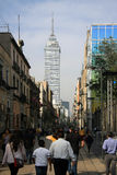 Mexico City, Mexico - November 42, 2015: View of Torre Latinoamericana from the high street, walking from Zocalo Square in Mexico Royalty Free Stock Photos