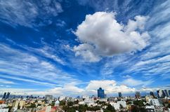 MEXICO CITY, MEXICO, 24 OCTOBER, 2016: View to Mexico city under. Stunning cloudy sky royalty free stock photography