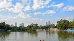 MEXICO-CITY, MEXICO - OKTOBER 10, 2015: De mensen in catamarans bij het meer in Chapultepec parkeren stock video