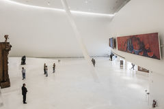 MEXICO CITY - NOV 1, 2016: Interior of Soumaya Museum. The Museo Soumaya, designed by the Mexican architect Fernando Romero, is a private museum in Mexico City Royalty Free Stock Photos