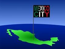 Mexico-City op Mexicaanse kaart Stock Afbeelding