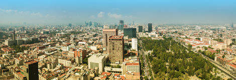Mexico City Panorama. Aerial panorama of Mexico City on a sunny morning with Central Alameda Park on the right. Mexico City is a capitol of Mexico. The camera is Stock Image