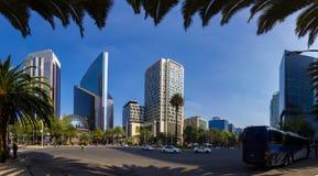 Mexico City Panorama Street CDMX. Panoramic view of Mexico City center DF CDMX. Street view of the town stock photography