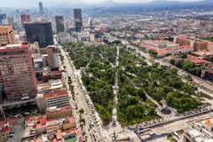 MEXICO CITY - CIRCA MAY 2013: Panoramic view Alameda Central. Mexico City panoramic view of Alameda central park and Juarez Avenue Stock Photo