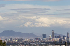 Mexico City. Panoramic view of Mexico City and  Popocatepetl volcano Royalty Free Stock Photo