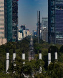 Mexico City Paseo de la Reforma. View of the Paseo de la Reforma and the angel of independence in Mexico City Stock Images