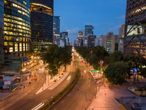 Ciudad de Mexico - Reforma Avenue night scene. Mexico City, Reforma avenue buildings, night scene aerial shot Royalty Free Stock Photos