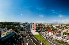 Mexico City Satelite towers, the suburbs. Aerial shot of satelite towers suburbs sunny day Stock Photo