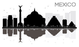 Mexico City skyline black and white silhouette with reflections. Stock Photos