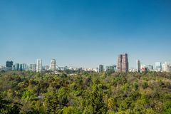 Mexico city skyline from Chapultepec castle Stock Images