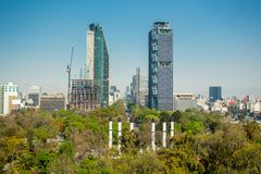 Mexico city skyline from Chapultepec castle Stock Photography