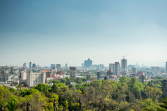 Mexico city skyline from Chapultepec castle. And park Stock Photography
