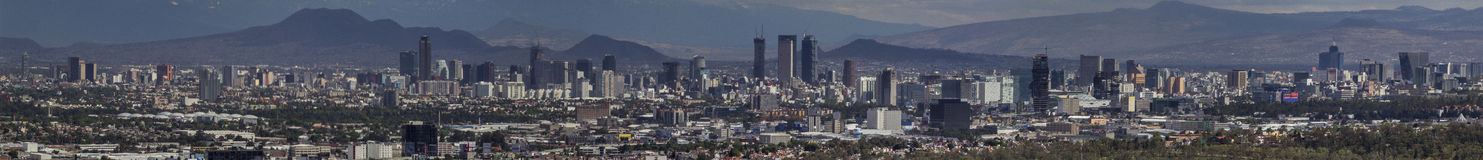 Mexico City skyline panorama. Main part of mexico city skyscrapers and most important high buildings, taken from Naucalpan on a clear day Stock Images