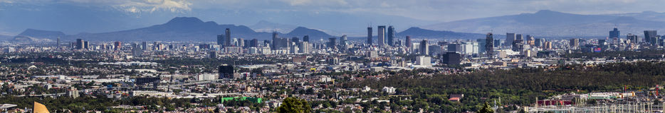 Mexico city skyline panorama. View of most part of the central mexican valley, including the state of Mexico, CDMX city of Mexico, and the surrounding mountains stock image