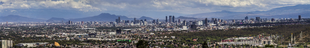 Mexico City skyline panorama. View of most part of the central mexican valley, including the state of Mexico, CDMX city of Mexico, and the surrounding mountains stock photography